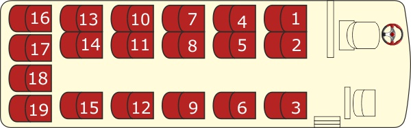przewozy autokarowe radom - rozkład siedzeń